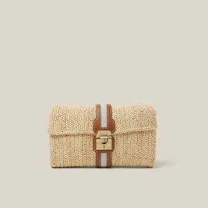 MARK CROSS Brown Sylvette Raffia and Leather Clutch Bag