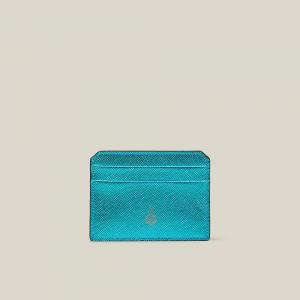 MARK CROSS Blue Saffiano Leather Card Holder One Size