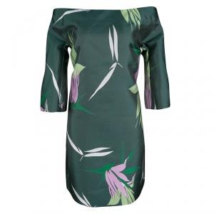 Marni Spherical Green Jacquard Kapfu Motif Off Shoulder Shift Dress M