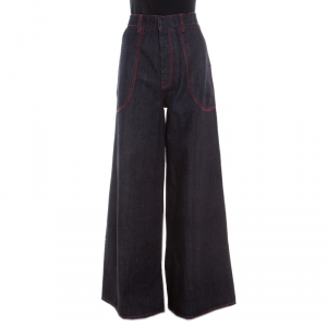 Marni Indigo Dark Wash Denim Top Stitch Detail Wide Leg Jeans M