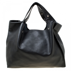 Marni Black Leather Slouchy Shopper