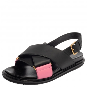 Marni Black/Pink Leather Cross-Strap Sandals Size 39.5 -