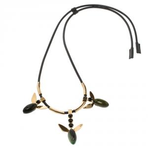 Marni Crystal Resin Gold Tone & Leather Adjustable Necklace