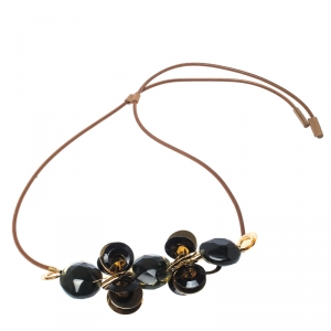 Marni Resin Leather Gold Tone Adjustable Long Statement Necklace