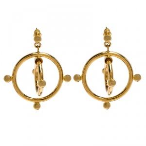 Marni Double Circle Hoop Gold Tone Earrings