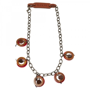 Marni Red Resin and Wood Leather Tag Necklace