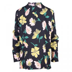 Marni Black Floral Print Long Sleeve Top L