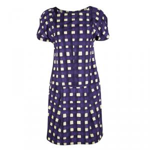 Marni Purple Checkered Drop Waist Pleated Dress S