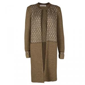 Marni Brown Lurex Knit Quilted Open Front Long Cardigan M