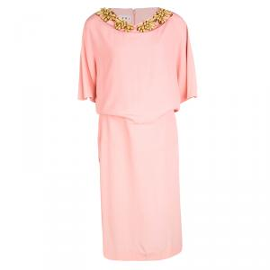 Marni Peach Embellished Neck Detail Short Sleeve Dress M