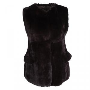 Marni Brown Rabbit Fur Vest S