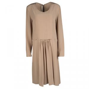Marni Blush Pink Silk Pleat Detail Long Sleeve Dress M