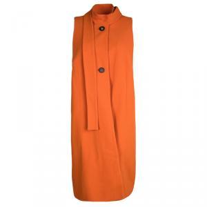 Marni Orange Cotton Knit Neck Tie Detail Sleeveless Coat M