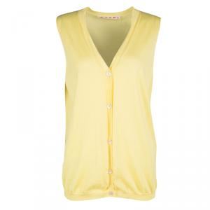 Marni Yellow Cashmere Sleeveless Button Front Sweater Vest S