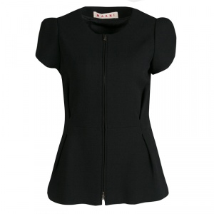 Marni Black Wool Zip Front Tailored Top M