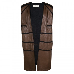 Marni Brown Quilted Lamb Leather Jersey Lined Long Open Front Vest M