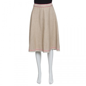 Marni Brown Cotton Flax Contrast Trim Detail Textured Midi Skirt M