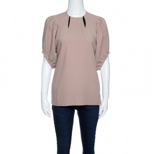 Marni Beige Wool Gathered Sleeve Top S