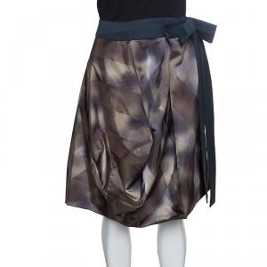 Marni Diamond Print Bow Waist Detail Asymmetric Draped Skirt S