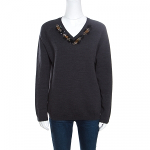 Marni Dark Grey Wool Crystal Embellished V Neck Sweater M - used