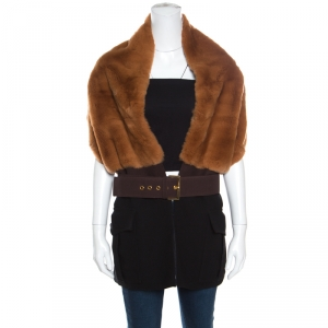 Marni Bicolor Rabbit Fur and Wool Blend Belted Scarf Style Vest ( One Size )