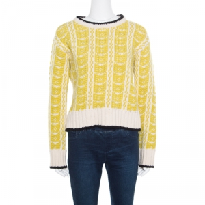 Marni Off White and Yellow Contrast Trim Detail Chunky Knit Intarsia Sweater S