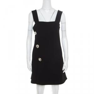 Marni Black Crepe Crystal Embellished Button Detail Pinafore Dress M - used