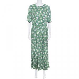 Marni Blue and Green Floral Printed Crepe Ruffled Hem Maxi Dress M