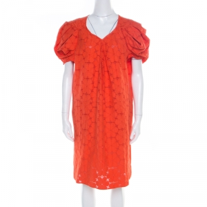 Marni Tangerine Floral Cotton Lace Shift Dress S - used