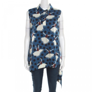 Marni Blue Polka Dotted Dancer Print Asymmetric Bottom Sleeveless Top L