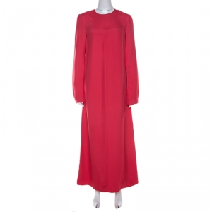 Marni Hot Pink Paneled Button Detail Long Sleeve Maxi Dress S - used