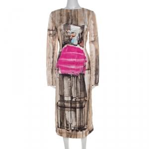Marni Beige Box Face Print Satin Long Sleeve Midi Dress M