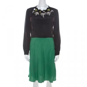 Marni Multicolor Silk Colorblock Floral Embellished Neckline Short Dress M - used