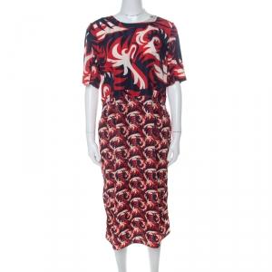 Marni Red & Blue Mixed Print Silk Blend Short Sleeve Dress M - used