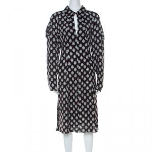 Marni Dark Brown Crystal Print Silk Flared Dress M - used