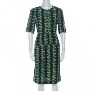 Marni Slate Blue and Green Abstract Geometric Printed Silk Shift Dress M - used