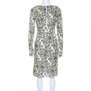 Marni Light Yellow Printed Silk Long Sleeve Dress M - used