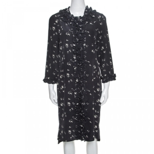 Marni Navy Blue Printed Silk Ruffled Detail Shift Dress M - used