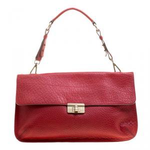 Marni Red Textured Leather Shoulder Bag