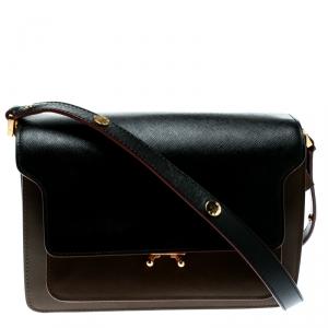 Marni Brown/Black Leather Medium Trunk Shoulder Bag