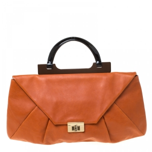 Marni Tan Leather Turnlock Envelope Top Handle Bag