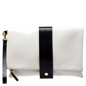 Marni Cream/Black Patent Leather Clutch