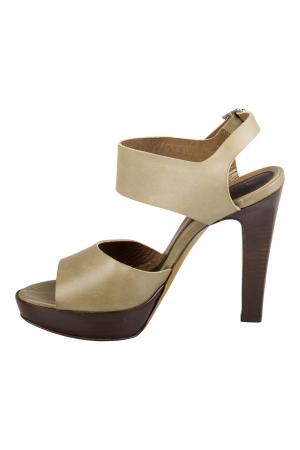 Marni Olive Green Leather Slingback Platform Sandals Size 38 - used