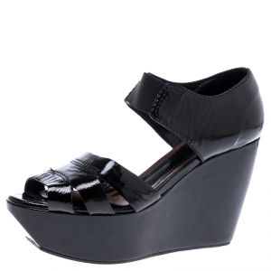 Marni Black Patent Leather Wedge Platform Sandals Size 37 - used