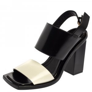 Marni Monochrome Leather Block Heel Sandals Size 38 - used