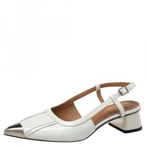 Marni White Leather Slingback Cap Toe Sandals Size 37 - used
