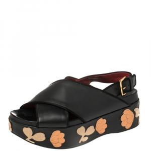 Marni Black Leather Cross Strap Floral Platform Sandals Size 39