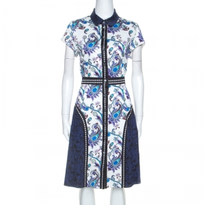 Mary Katrantzou Multicolor Printed Stretch Cotton Shirt Dress M
