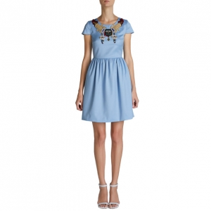 Mary Katrantzou Julie Blue Embroidered Dress S