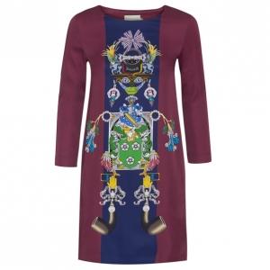 Mary Katrantzou Elio Burgundy Printed Shift Dress M